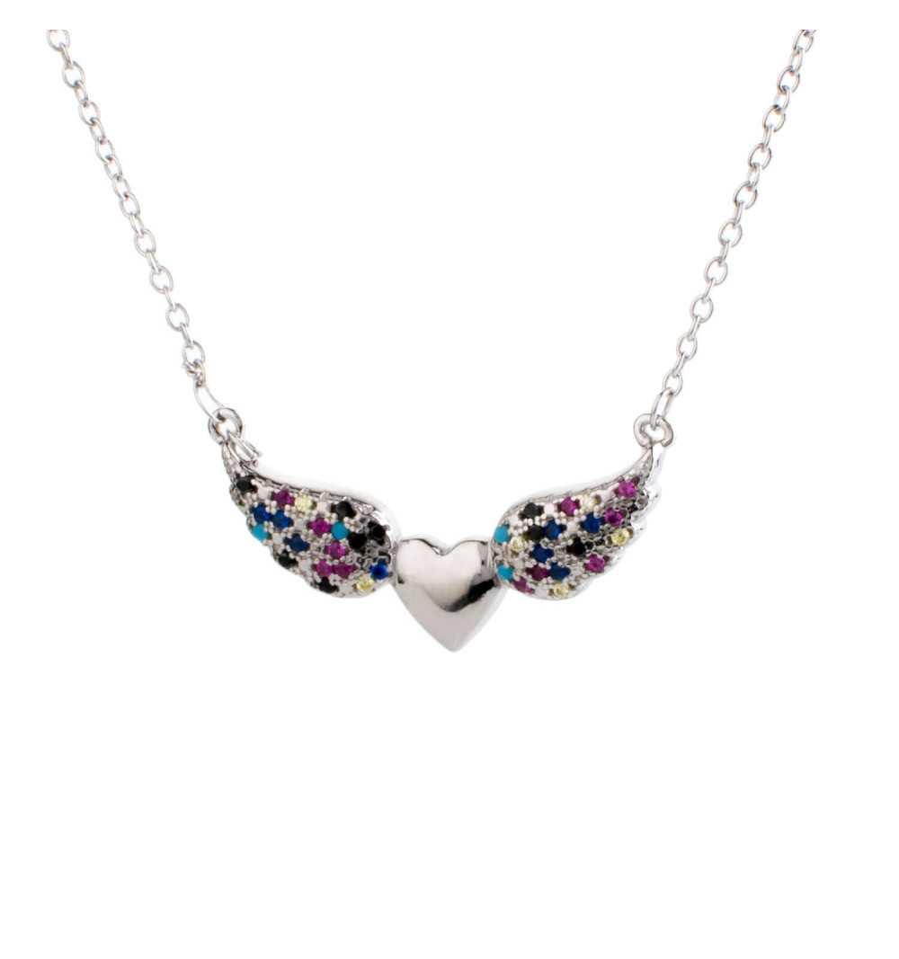 Srebrny naszyjnik serce ze skrzydłami z kolorowymi cyrkoniami