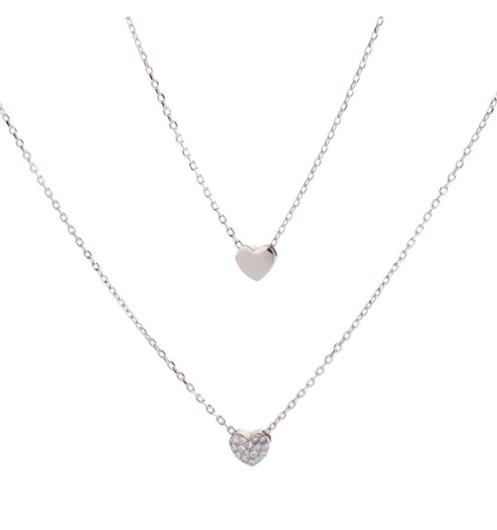 Podwójny srebrny naszyjnik serduszka