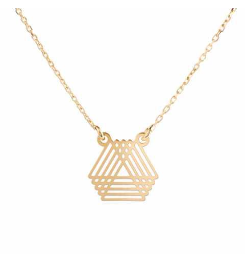 Pozłacany naszyjnik trójkąty 3D srebro 925