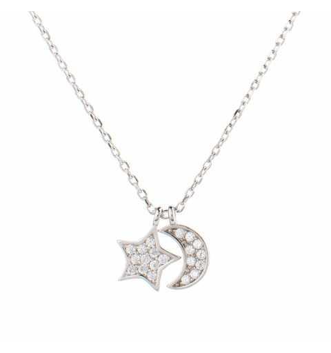 Srebrny naszyjnik księżyc gwiazdka srebro 925