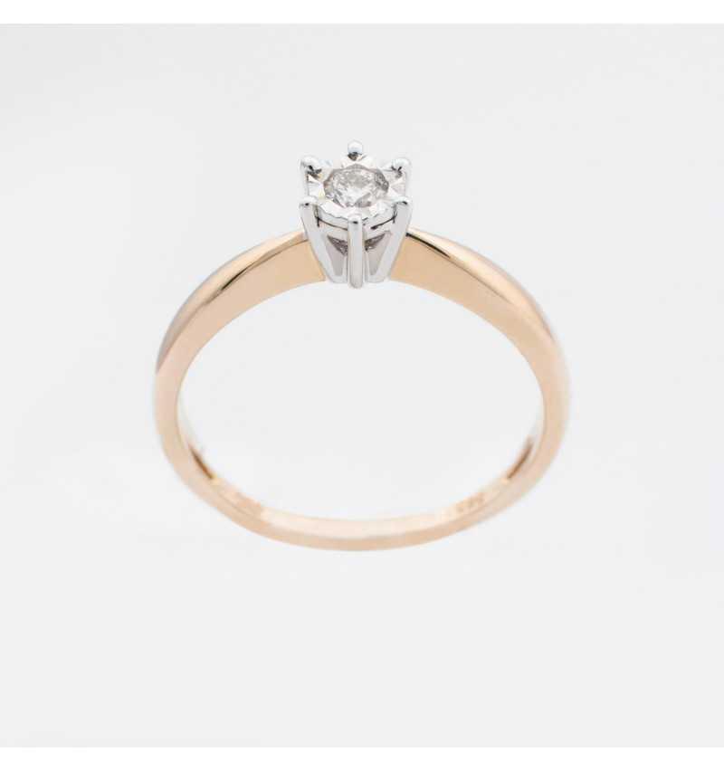 Złoty pierścionek z brylantem 0,09ct
