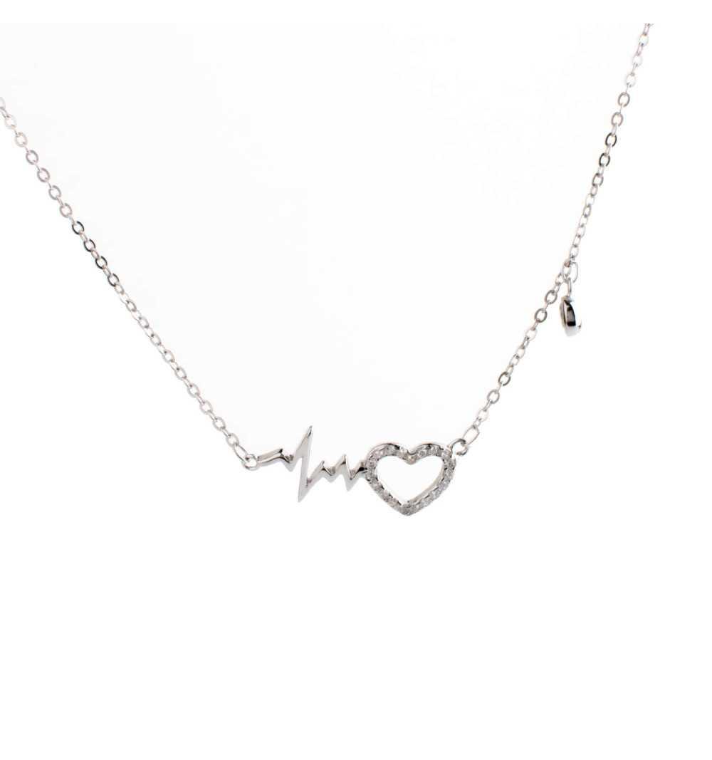 Srebrny naszyjnik serce z linią życia