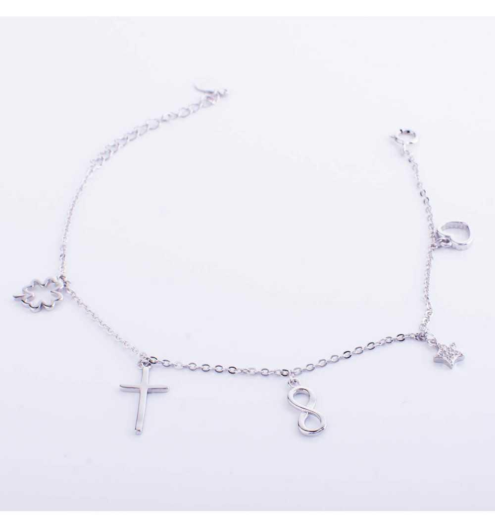 Srebrna bransoletka z charmsami serce, gwiazdka, nieskończoność, krzyżyk, koniczyna