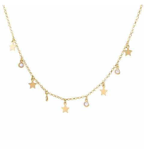 Pozłacany srebrny naszyjnik z gwiazdkami i koralikami