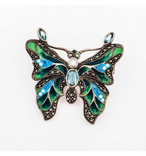 Srebrna broszka zielony motyl z markazytami