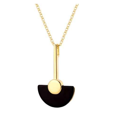 Pozłacany naszyjnik półksiężyc czarny kamień onyks
