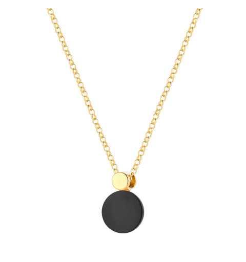 Srebrny pozłacany naszyjnik z czarnym kamieniem onyks