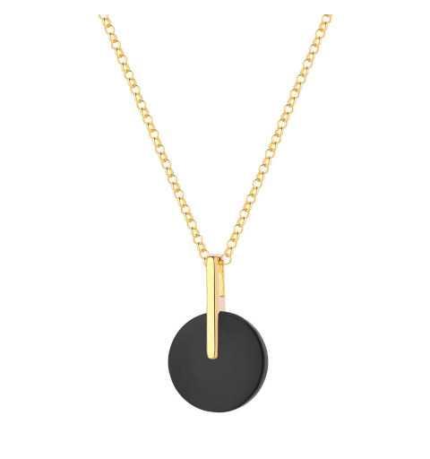 Pozłacany naszyjnik z okrągłym czarnym kamieniem onyks