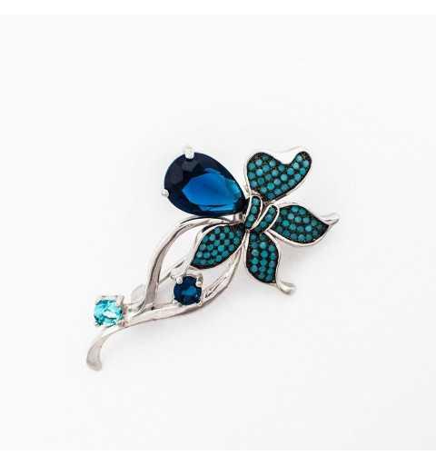 Srebrna broszka niebieski kwiatek