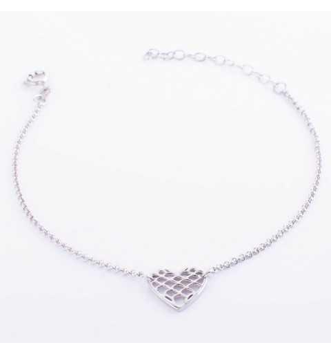 Srebrna bransoletka z symbolem serca