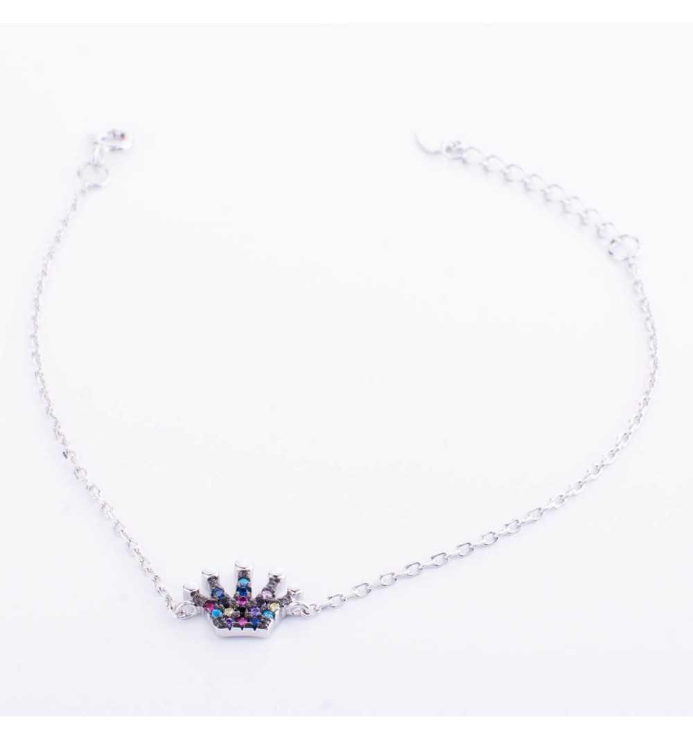 Srebrna bransoletka z koroną wysadzaną kolorowymi cyrkoniami