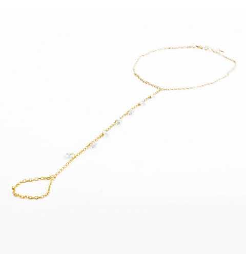 Pozłacana srebrna bransoletka na nogę z cyrkoniami zakładana na palec