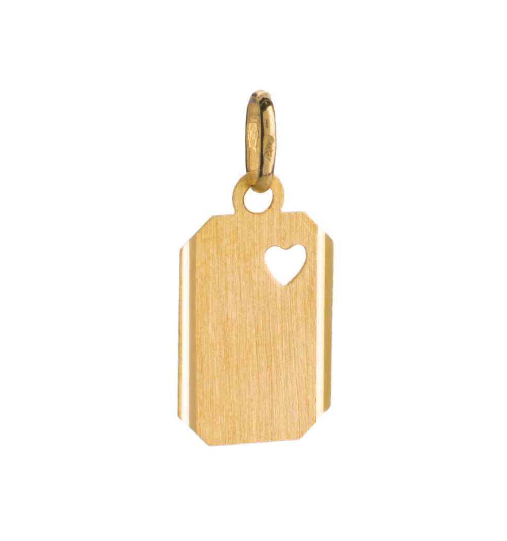 Złota zawieszka do grawerowania z sercem