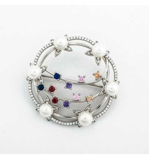 Srebrna broszka z perłami i kolorowymi cyrkoniami