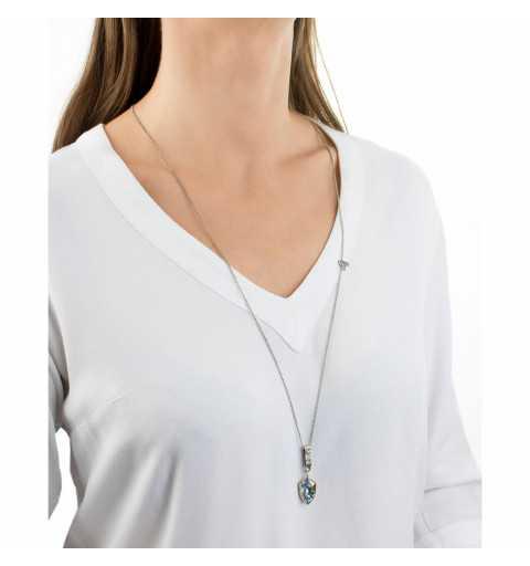 Srebrny naszyjnik MOTYLE w kolorze antycznego srebra z Kryształem Swarovskiego Blue Shade MS2537