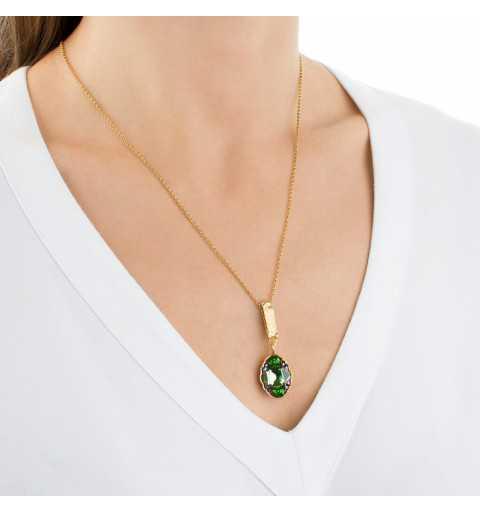 Srebrny naszyjnik MOTYLE złocony królewskim złotem 24 k z Kryształem Swarovskiego Peridot Scarabeus Green MG2539