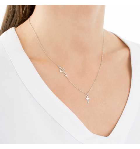 Srebrny naszyjnik z dwoma krzyżykami