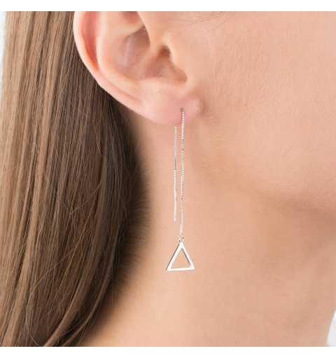 Srebrne kolczyki przeciągane trójkąty