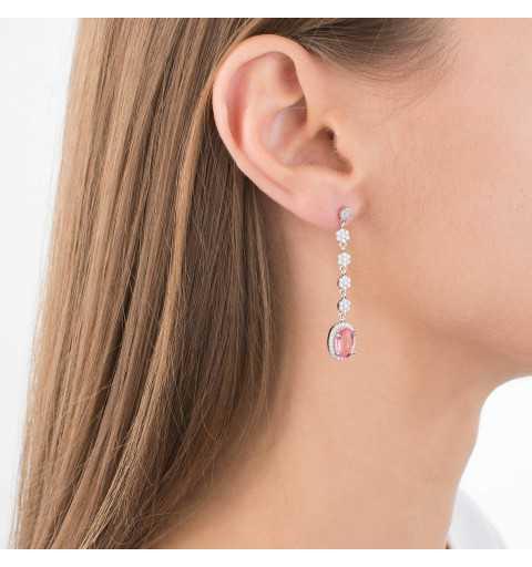 Eleganckie długie kolczyki różowy kamień srebro 925