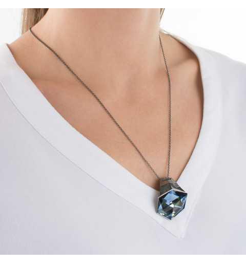 Srebrny naszyjnik MOTYLE czarny rod 24 k grafitowy blask z Kryształem Swarovskiego Crystal Sahara