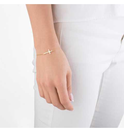 Pozłacana srebrna bransoleta z krzyżykiem