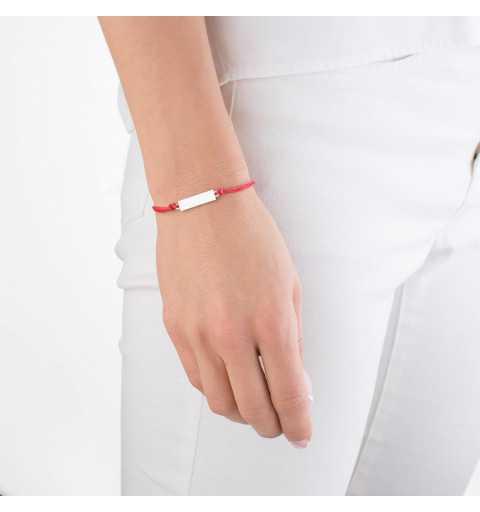 Bransoletka czerwony sznurek ze srebrną blaszką pod grawer