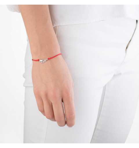 Bransoletka czerwony sznurek ze skrzydełkiem srebro 925