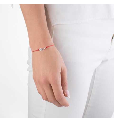 Bransoletka czerwony sznurek skrzydełko srebro 925
