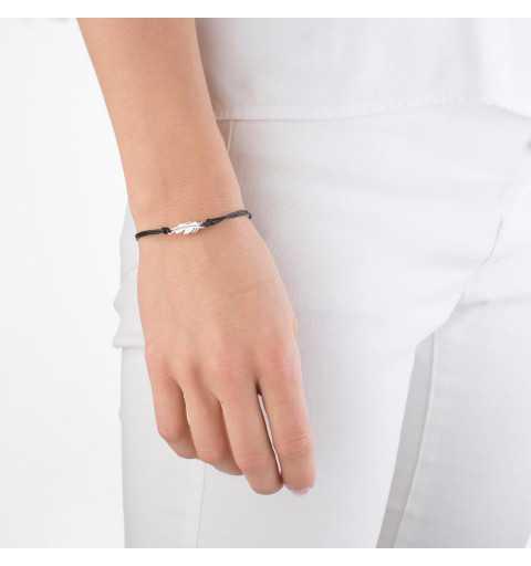 Bransoletka czarny sznurek piórko srebro 925