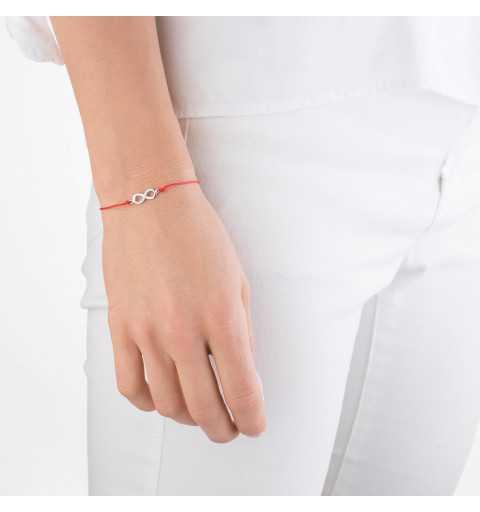 Srebrna bransoletka na czerwonym sznurku nieskończoność z cyrkoniami