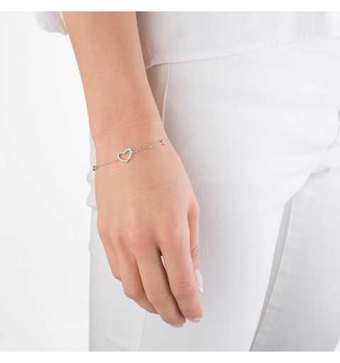 Srebrna bransoletka serce z cyrkoniami srebro 925