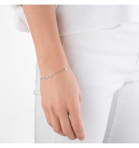 Srebrna bransoletka nieskończoność z cyrkoniami