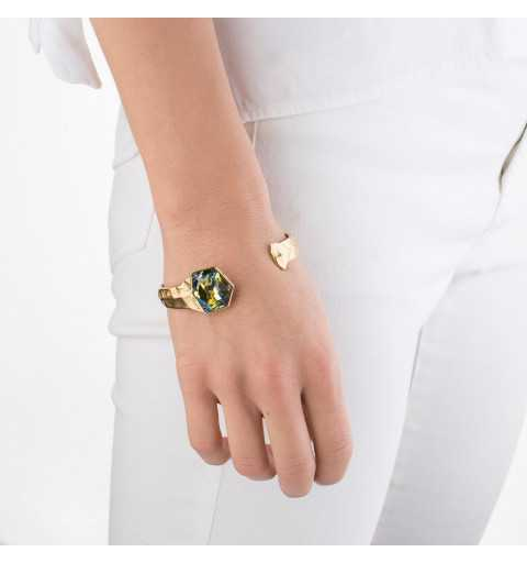 Srebrna bransoletka MOTYLE złocona królewskim złotem 24 k z Kryształem Swarovskiego Crystal Sahara