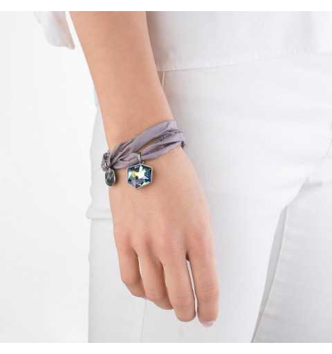 Srebrna bransoletka MOTYLE czarny rod 24 k grafitowy blask z Kryształem Swarovskiego Crystal Sahara