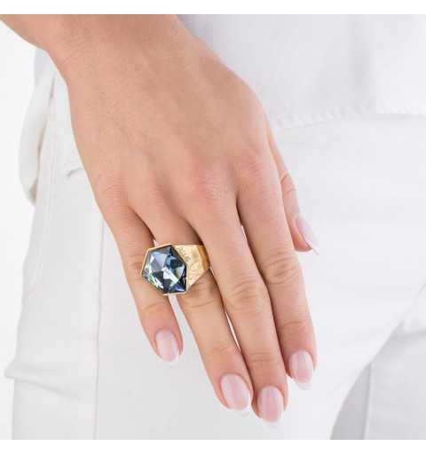 Srebrny pierścionek MOTYLE złocony królewskim złotem 24 k z Kryształem Swarovskiego Crystal Sahara