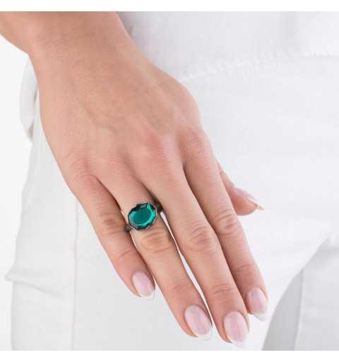 Srebrny pierścionek MOTYLE czarny rod 24 k grafitowy blask z zielonym Kryształem Swarovskiego Emerald