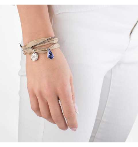 Srebrna bransoletka MOTYLE MJS3068 wykonana z naturalnego jedwabiu z fioletowym Kryształem Swarovskiego Tanzanite