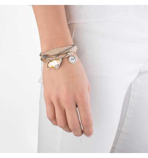Srebrna bransoletka MOTYLE wykonana z naturalnego jedwabiu z Kryształem Swarovskiego Golden Shadow antyczne srebro MJS3067