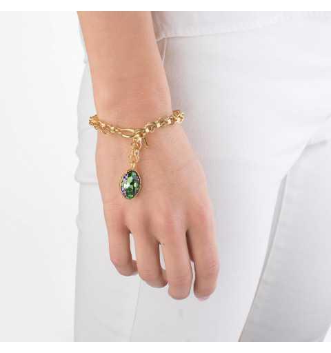 Srebrna bransoletka MOTYLE MG3539 złocona 24karatowym złotem z Kryształem Swarovskiego Peridot Scarabeus Green