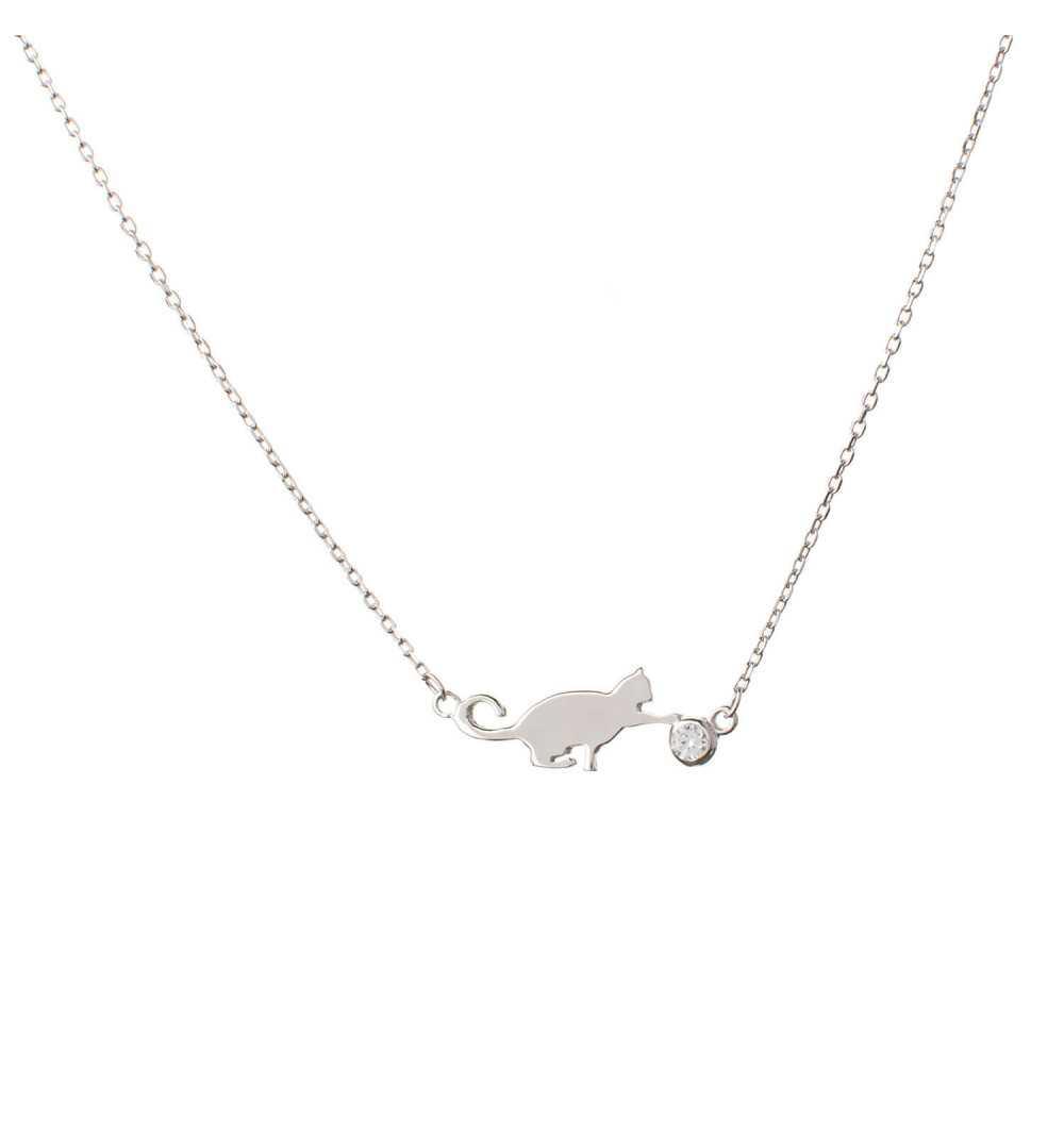 Srebrny naszyjnik z kotem