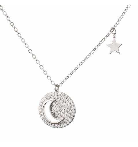Srebrny naszyjnik gwiazdka księżyc
