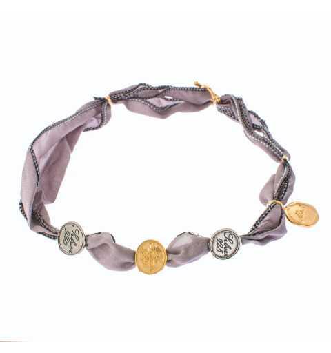 Srebrna bransoletka szary naturalny jedwab z monetami MIX3021