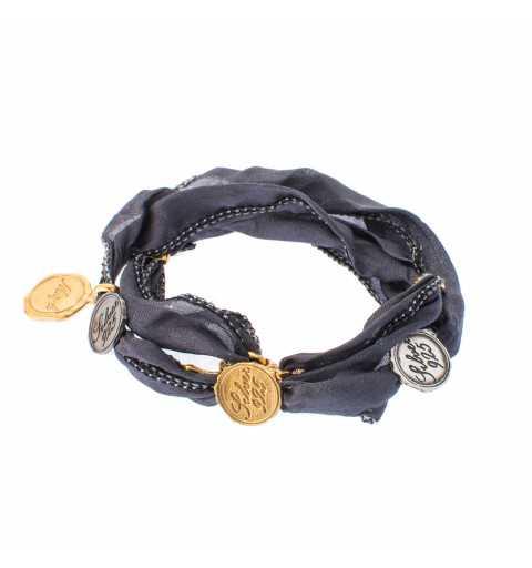 Srebrna bransoletka z monetami z naturalnego jedwabiu MJMIX3021