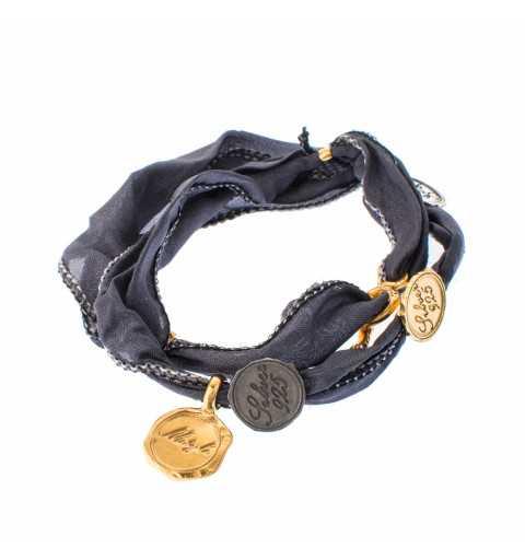 Srebrna bransoletka z monetami z naturalnego jedwabiu MIX3021