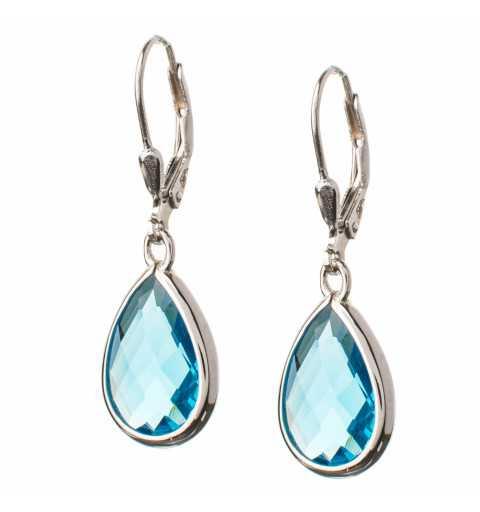 Komplet srebrnej biżuterii z niebieskimi kamieniami