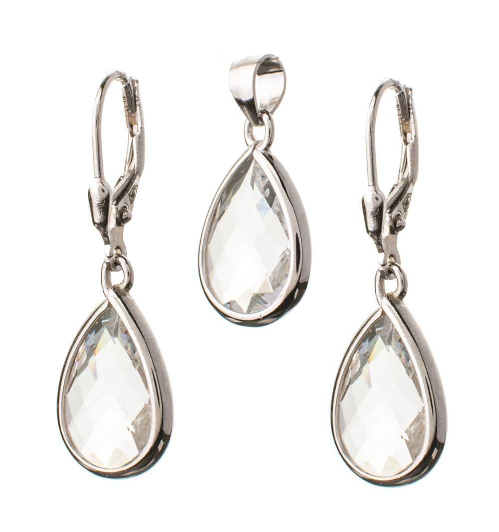Komplet srebrnej biżuterii z białymi kamieniami