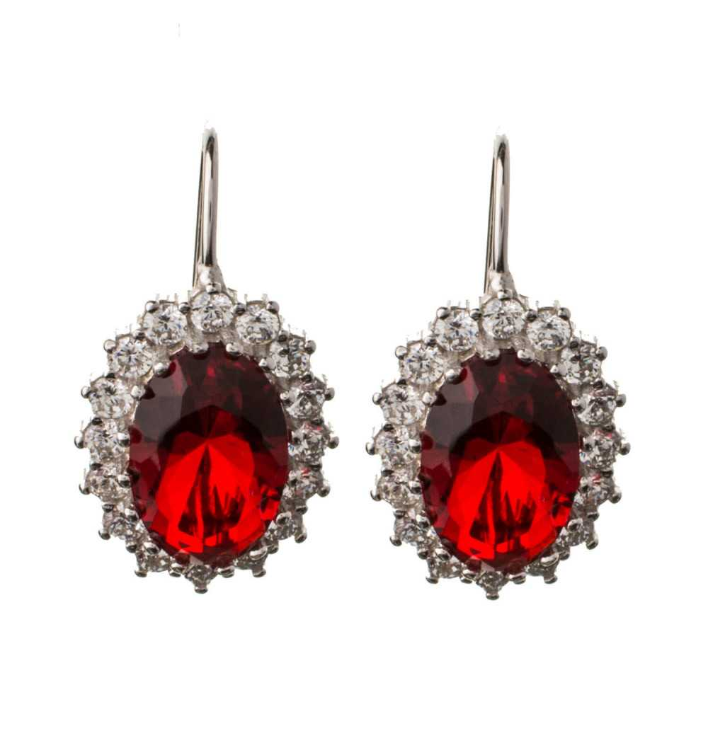 Srebrne kolczyki wiszące z czerwonymi cyrkoniami