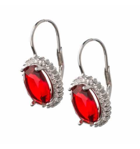 Srebrne kolczyki czerwone kamienie angielskie zapięcie