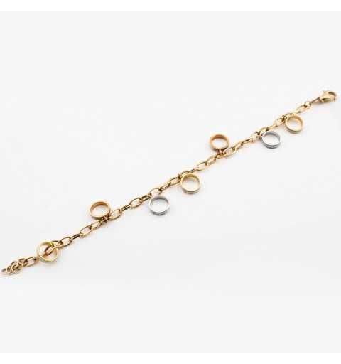 Złota bransoletka z ozdobnymi pierścieniami
