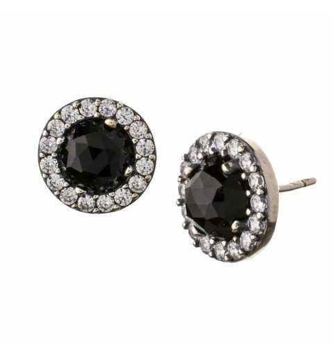 Srebrne kolczyki z czarnym kamieniem